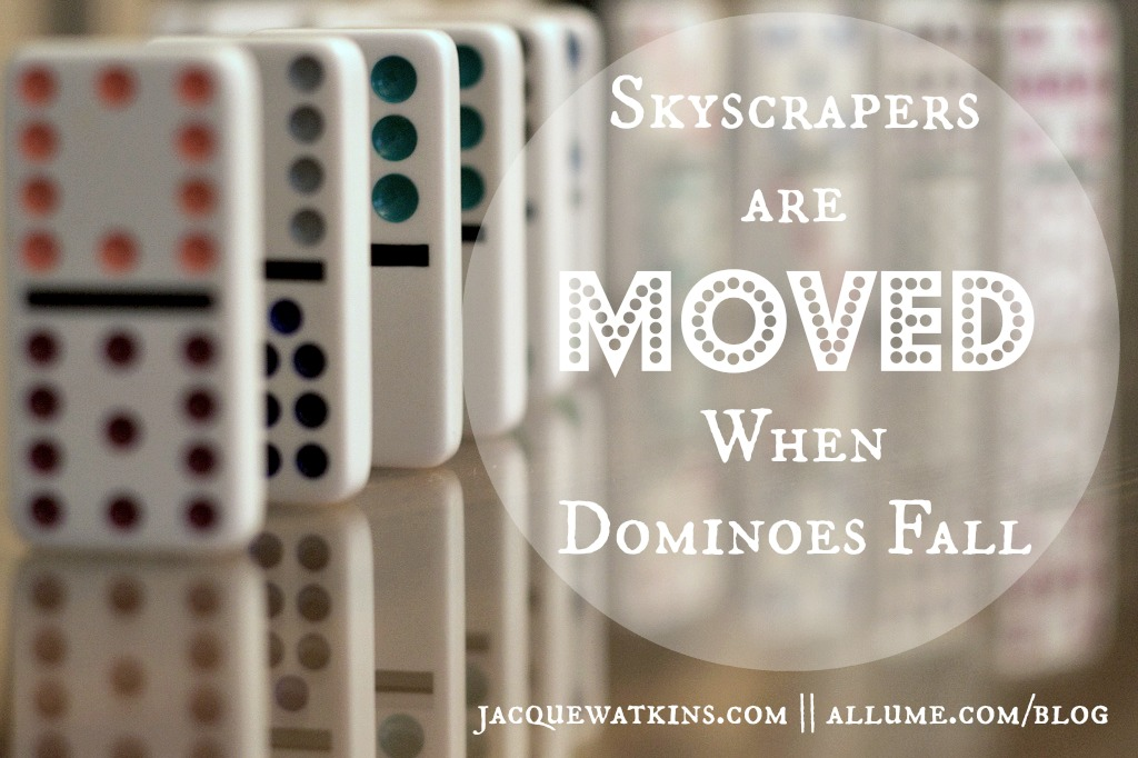 Skyscrapers are moved when dominoes fall